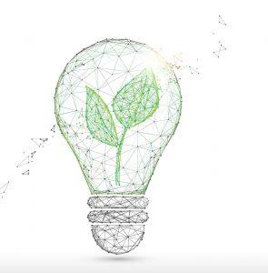 Ampoule avec des feuilles pour symboliser le numérique responsable