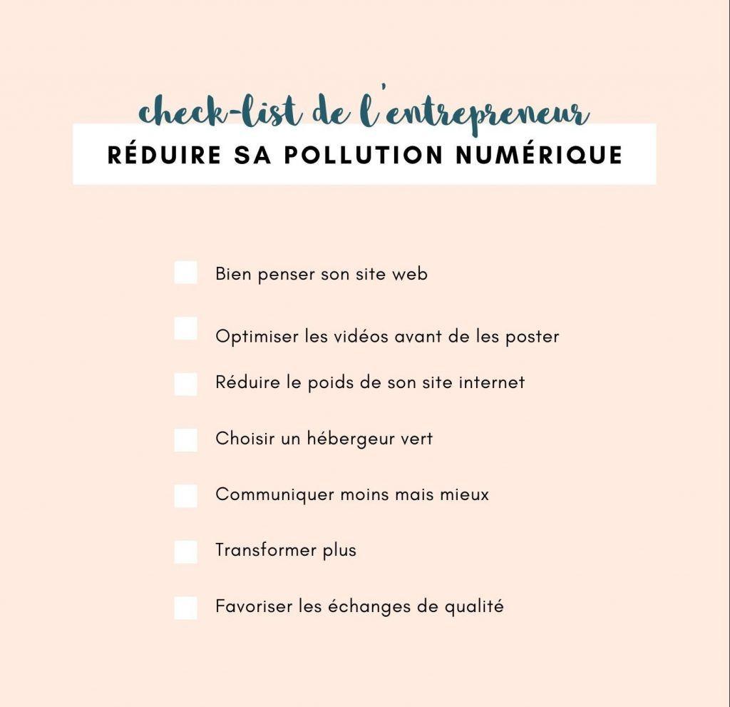 Check-list de l'entrepreneur pour réduire sa pollution numérique