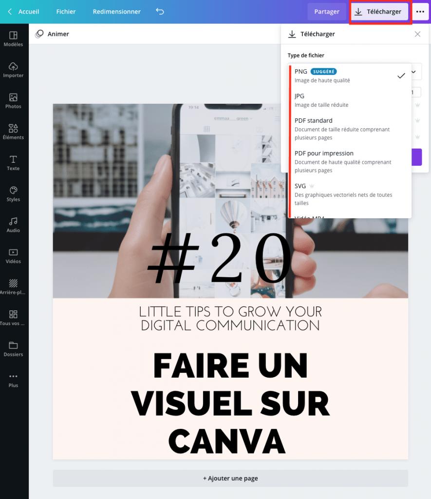 Tutoriel Canva : télécharger son visuel